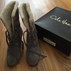Cole Haan Shearling Waterproof boots great condition!  Selling because I just purchased another pair of shearling boots today and see myself wearing those more. Lined down to the sole. Wedge heels offer great comfort. Cole Haan Shoes Winter & Rain Boots