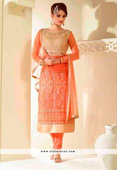 Orange Color Net Designer Straight Cut Salwar Suit