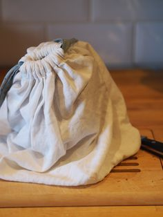 Linen draw-string bread bag with french seams for home-made loaves.
