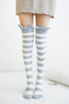 These furry adult sized thigh high stockings will have you feeling like a princess. Warm, cozy, & soft on your skin. These socks have enough stretch to fit most! Every kawaii babe needs a pair of these plush animal socks. They will instantly put you into a happy space, and keep you warm! Free Shipping Worldwide! Sock Animals, Plush Animals, Harajuku Japan, Kawaii Plush, Cute Socks, Mori Girl, Kawaii Fashion, Thigh Highs, Thighs