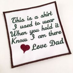 MEMORY PILLOW PATCH - Memorial Patch, This is a shirt I used to wear, In Memory Of, Shirt Pillow Patches, Memory Patches
