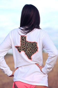 Texas Cheetah Coral Tan Long Sleeve - White