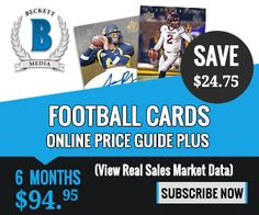 6 Month Football Cards Online Price Guide Plus Subscription for $94.95