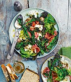 Purple Sprouting Broccoli: Enjoy bountiful spring produce in this quick salad recipe made with purple sprouting broccoli, parma ham, radishes and mozzarella. Quick Salad Recipes, Lunch Recipes, Cooking Recipes, Healthy Recipes, Meat Recipes, Quiches, Healthy Salads, Healthy Eating, Healthy Food