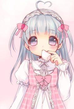 ✮ ANIME ART ✮ pastel. . .chibi. . .big eyes. . .blue hair. . .dress. . .ribbons. . .headdress. . .pink. . .marshmallow. . .cute. . .moe. . .kawaii