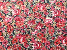 Vintage Liberty Cotton Dress Fabric Red Floral on Black in Collectables, Sewing/ Fabric/ Textiles, Fabric/ Textiles | eBay