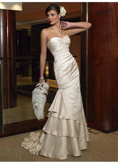 LACE BRIDESMAID PARTY BALL EVENING GOWN IVORY WHITE SLINKY SWEETHEART TIERED WEDDING DRESS