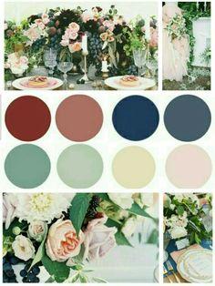 Dusty garden wedding inspiration color scheme: burgundy, dusty marsala, navy blue, dusty blue, ivory , blush, dusty green, sage green. Elegant eco rustic wedding
