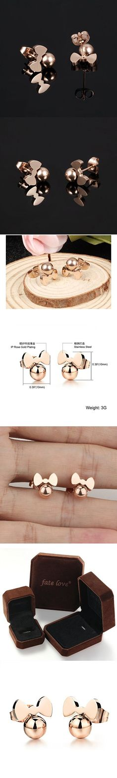 Fate Love Jewelry Cute Rose Gold Plated Little Mouse Stud Earrings for Girls Women, Hypoallergenic