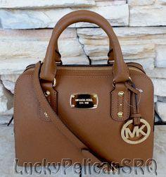 Michael Kors Small Saffiano Dark Khaki Beige Satchel Bag Handbag ...