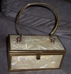 Vintage 40's Mother of Pearl Box Purse