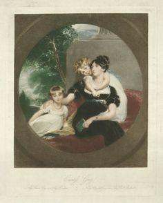 Lady Caroline Barrington (née Grey); Lady Georgiana Grey; Mary Elizabeth Grey (née Ponsonby), Countess Grey, by Samuel Cousins, after Sir Thomas Lawrence, 1831 (circa 1805) - NPG D34958 - © National Portrait Gallery, London
