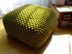 Crochet stuffed pistachio green ottoman / Nursery pouf by GieMarGa