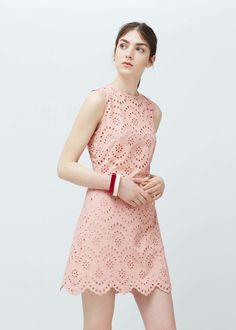 Embroidered cotton dress - Dresses for Women   MANGO USA