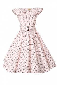 Lindy Bop - 1950  MaryLou Navy Polka Dot Bow Sjawl Collar vintage style swing party rockabilly dress