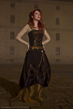 an steampunk outfit: skirt, overskirt and top...  an unique design