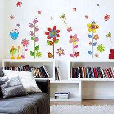 [Fundecor] colorful garden home decor bathroom waterproof decal cartoon mural plant flower wall stickers 4050 Removable Wall Stickers, Butterfly Wall Stickers, Colorful Garden, Colorful Flowers, Thing 1, House Rooms, Wall Murals, Wall Art, Bedroom Decor