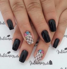 Best Nail Art Designs 2018 Every Girls Will Love These trendy Nails ideas would gain you amazing compliments. Check out our gallery for more ideas these are trendy this year. Dark Nail Designs, Best Nail Art Designs, Trendy Nails, Cute Nails, Hair And Nails, My Nails, Modern Nails, Dark Nails, Cool Nail Art