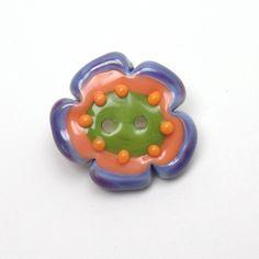 Purple lampwork button, art glass button feyglass on Etsy