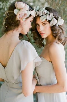 Curls and silk flower crowns // Vintage Glam: Bridesmaid Dresses by Jenny Yoo