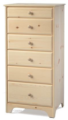 Solid Pine Wood Shaker 6 Drawer Lingerie Chest In Unfinished