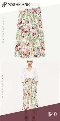 Zara Floral Culottes These are zara floral culottes in a size extra small. I ordered these from the website and they are so cute but didn't suit me. They are literally brand new with tags and are current season! Feel free to ask any questions and price is some what negotiable! Zara Pants