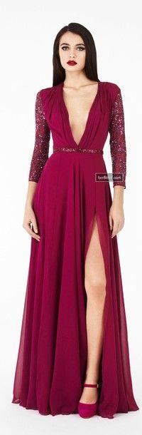 dress, deep v, plunge, wine red, burgundy, long sleeve, gown, fomal - Wheretoget