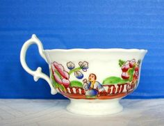 Hilditch Cup & Saucer, Garden Tea Party, Antique 19th C English from owensantiques on Ruby Lane