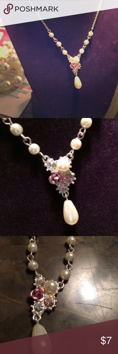 """Antique look beautiful pink CZ pearls necklace Dainty and lady like accent 16"""" necklace Avon Jewelry Necklaces"""