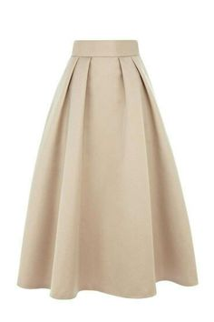 Vintage flared pleated A-line knee-length skirt for women Modest Fashion, Hijab Fashion, Fashion Dresses, Skirt Outfits, Dress Skirt, Coast Skirts, Outfit Vestidos, Beige Skirt, Satin Skirt