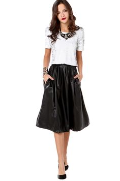 Women's Black Warehouse Leather Look Pleated Midi Skirt | Skirts ...