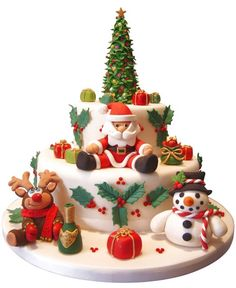 25 Beautiful Christmas Cake Decoration Ideas and design examples Image detail for -sweet christmas time christmas cake decorated with figures made from . Christmas Cake Designs, Christmas Cake Decorations, Christmas Cupcakes, Christmas Sweets, Holiday Cakes, Noel Christmas, Christmas Baking, Xmas Cakes, Christmas Cards