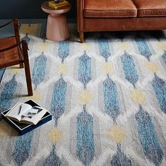 Teardrop Ikat Kilim Rug - Blue Lagoon. LOVING THIS!! Right material, right price. Right colors/design?