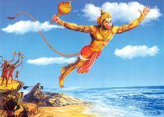 Hanuman flied over the ocean in search of Sita Maa Hare Krishna, Krishna Statue, Hanuman Photos, Hanuman Images, Shri Ram Photo, Hanuman Ji Wallpapers, Hanuman Chalisa, Hanuman Tattoo, Ram Photos