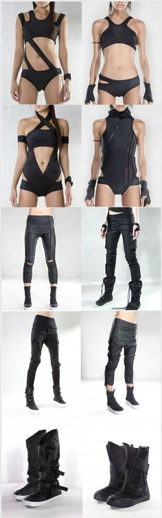 I think these are actually pretty cool, can layer the body suits with some of the pants and make a sick ass cyberpunk outfit Moda Cyberpunk, Cyberpunk Fashion, Cyberpunk Clothes, Character Costumes, Character Outfits, Post Apocalyptic Fashion, Post Apocalyptic Clothing, Post Apocalyptic Costume, Inspiration Mode
