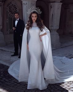 "Stunning White Mermaid Wedding Dress / Bridal Gown with a Cape and a Train. Collection ""Manon"" by Dovita Bridal Stunning Wedding Dresses, Dream Wedding Dresses, Bridal Dresses, Beautiful Dresses, Nice Dresses, Wedding Gowns, Dresses With Capes, Wedding Dress Cape, Wedding Dress Trumpet"