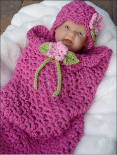 Flower Girl Cocoon and Hat Crochet Pattern Download from e-PatternsCentral.com -- An easy crocheted textured stitch is sure to make this impressive newborn cocoon and hat pattern a favorite.