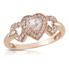 Heart-Shaped Pink Morganite and 1/8 CT. T.W. Diamond Ring in 10K Rose Gold - Zales