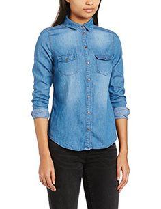 04b4c16def New Look Women s Denim Button Front Long Sleeve Shirt