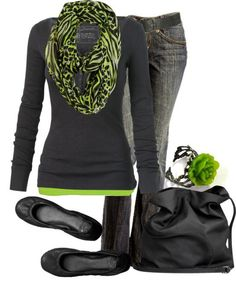# Grey jeans#Flat black shoes# Black and green scarf