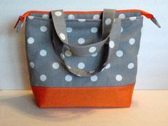 Lunch Bag, Adult Lunch Bag, Insulated,Womens Lunch Bag, Zipper Top,Inside Pockets, Grey Polka Dot, Choose Your Color, Made To Order