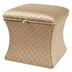 "Nailhead-trimmed ottoman with a cinched silhouette and a diamond trellis motif.          Product: Storage ottoman    Construction Material: Polyester and cotton   Color: Gold     Features:   Traditional style  Nailhead trim  Curved shape      Dimensions: 19"" H x 20"" W x 20"" D"