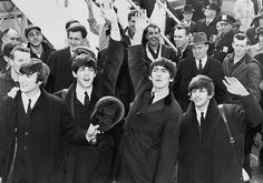 "A photo of the Beatles arriving in America, 7 February 1964. Source: UPI photo. Credit: Library of Congress, Prints and Photographs Division. Read more on the GenealogyBank blog: ""Beatlemania Comes to America!"" http://blog.genealogybank.com/beatlemania-comes-to-america-7-february-1964.html"