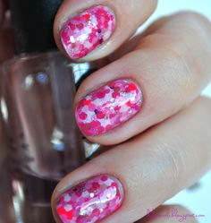 Pink Dotted Collage Nails