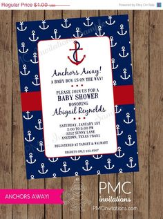 ON SALE Custom Printed Nautical Baby Shower Invitations - each with envelope Baby Shower Venues, Baby Shower Niño, Baby Shower Cookies, Baby Shower Parties, Baby Shower Themes, Baby Shower Gifts, Shower Ideas, Anchor Baby Showers, Elephant Baby Showers