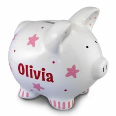 Personalized Pink Stars Piggy Bank--great for the kids!