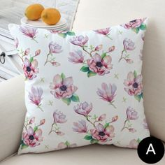 Magnolia flower pillows for living room pink decorative sofa cushions