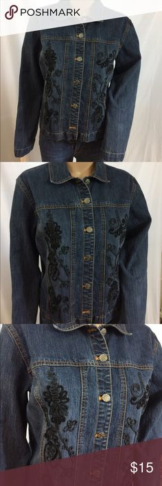 CHICOS Denim Jacket Dark wash denim jacket with black embellishments on front and back. No stains or holes in like new condition! Very nice style by CHICOS. Size 1 which converts to a medium or size 8. Chico's Jackets & Coats