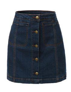 LE3NO Womens Vintage Denim A-Line Button Down Mini Skirt