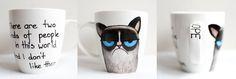 Grumpy Cat; hand-painted mug; 370ml / Kristi Palm Art
